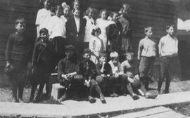 Division 1 in front of Lower Squamish School, 1914-1915