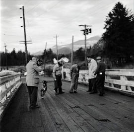 People and dog on bridge