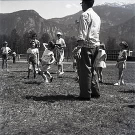 Children playing in field