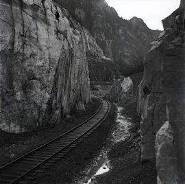 Railroad between rocks