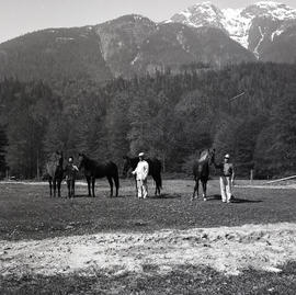People and horses in field