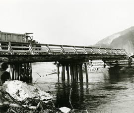 Truck crossing bridge
