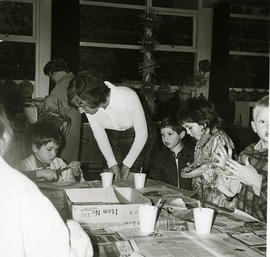 Children working on crafts in classroom