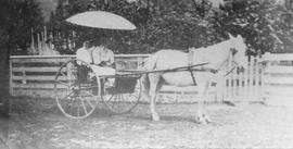 Women in buggy at Squamish Hop Company Ranch