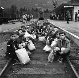 Children on railroad tracks
