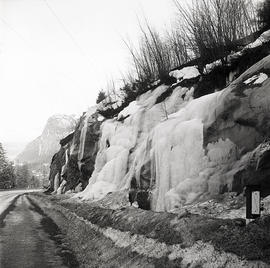 Ice on cliff by road