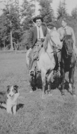 Clifford Thorne and Lottie Fulk on horseback