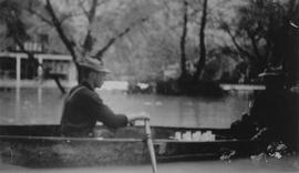 Harold Thorne in canoe during the 1940 flood