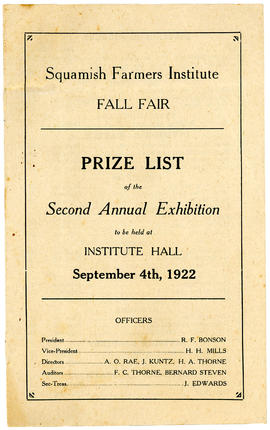 Squamish Farmers Institute Fall Fair Prize List of the Second Annual Exhibition