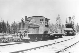 "Merrill & Ring ""4 Spot"" gas locomotive at M&R Camp"