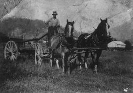 Marsh Hurren bringing home firewood in a hose-drawn cart