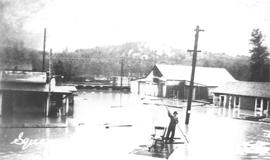 Downtown Squamish during 1940 flood