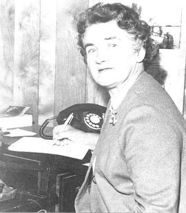 Freda Clarke working in Squamish Times office